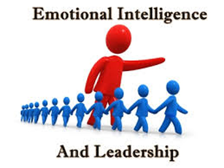 "Graphic which says ""Emotional Intelligence and Leadership"" showing large red figure pointing forward and smaller blue figures walking forward hand in hand"