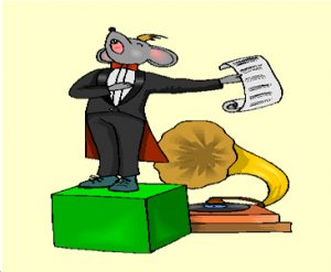 Image of mouse in tuxedo on soap box in front of gramophone, from Master the Art of the Pitch, by Larry Blumsack