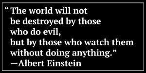 The world will not be destroyed by those who do evil, but by those who watch them without doing anything. -Albert Einstein