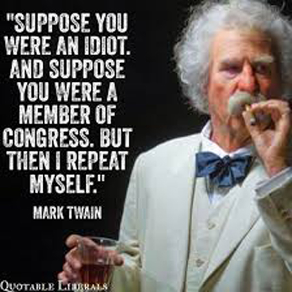 Suppose you were an idiot. And suppose you were a member of congress. But then I repeat myself. -Mark Twain