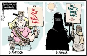 "Image of 1.) America: woman holding sign saying ""The right to bear arms,"" beside the image of 2. Arabia, with woman holding a sign saying ""The right to bare arms."" From Leadership Qualities, by Larry Blumsack"