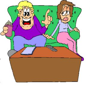Cartoon of man and woman on couch, man speaking and woman not interested, from Know your Audience Before You Speak, by Larry Blumsack
